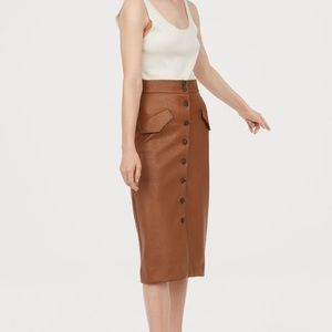 H&M Brown Faux Leather Midi Skirt